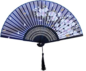 Generic Chinese Japanese Sakura Silk Hand Folding Fan