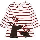 Stormdoing Kids Girls Stripe Christmas Cartoon Deer Princesa Dress Christmas Outfits Set