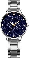 Alienwork Damen-Uhr mit Edelstahl-Armband Marmor-Zifferblatt