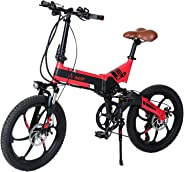 Aest Top730 Folding Electric Bike - Black Red (20 Inch)