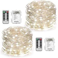 2 Set Fairy Lights Battery Powered with Remote Timer 8 Modes Twinkle String Lights 5M 50 LED Firefly Lights for Decoration for Girls Bedroom - White