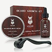 Beard Growth Kit, VIKICON Bartpflege Set, Bartwachstum Kit für Männer, Bart Derma Roller Bartwachstum Serum Öl Bart…