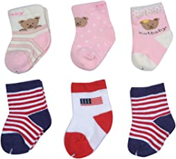 GURU KRIPA BABY PRODUCTS ® Presents New Born Baby Kids Super Soft Organic Stretchable Terry Socks Prewalkers foldup Cosy Cotton Baby Socks Gift Set Pairs For Infant Girl / Boy Multicolour Gripper Socks For Baby Unisex Assorted Crew Socks Bright Coloured New Arriva Set Of 6 Pcs (0-6 Months, Multi-Coloured)