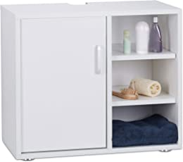 Relaxdays Waschbeckenunterschrank, eintürig, Badschrank, 3 Ablagen, WC Unterstellschrank 51x60x32 cm