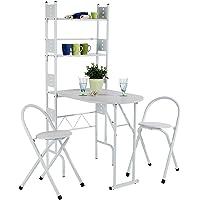 IDIMEX Ensemble Jonathan avec Table de Cuisine comptoir Pliable avec 2 étagères et 2 chaises/tabourets avec Dossier…