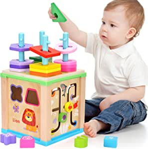 Elover Wooden Activity Cube Multifunction Toys with Bead ...