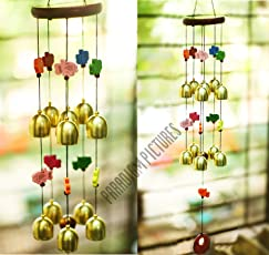 Paradigm Originals Brass Bell Colorful Wind Chimes with Fengshui Fish- Windchimes (Multicolour, Para_11_5_bell) - Set of 11