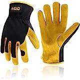 Men Leather Gardening Gloves, Utility Work Gloves for Garden & Building Work, Dexterity & Breathable Construction Gloves (Med