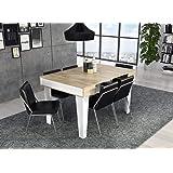 Skraut Home - Table Console extensible, rectangulaire avec rallonges, Nordic KL jusqu'à 140 cm, Style Scandinave pour salle à