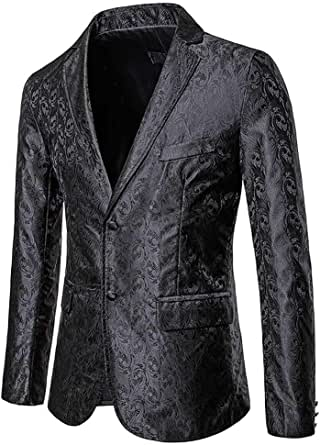 YOUTHUP Mens Casual Blazer Slim Fit Floral Suit Jackets 2 Button Fashion Wedding Tuxedo Coat