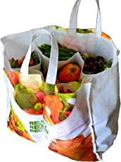 VITARA Cotton Organics Eco Vegetable Bag with 6 Pockets for Vegetables, Provision (vtrgt002, White)