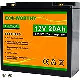 ECO-WORTHY 12V 20Ah Batería recargable de fosfato de litio y hierro LiFePO4 con más de 3000 veces de ciclo profundo y protecc
