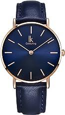 Alienwork IK Armbanduhr für Damen Herren flach Slim Uhr Ø36mm mit Lederarmband