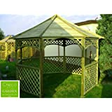 GARDEN WOODEN GAZEBO, PAVILION, HOT TUB, OCTAGONAL DIAMETER 3.5 m