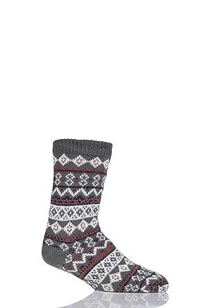 totes Mens Sherpa Lined Fair Isle Slipper Socks: Amazon.co.uk ...