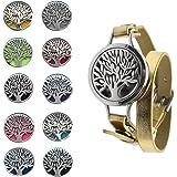 Bracelet d'aromathérapie,Xiuyer Bracelet Diffuseur d'huile Essentielle Motif Arbre de la Vie Bracelet Réglable en Cuir PU ave