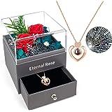 Rosa Eterna Natural, PTN Regalo de Joyas de Flores Preservadas, con Collar Te Amo en 100 Idiomas, Regalos Románticos para Ell