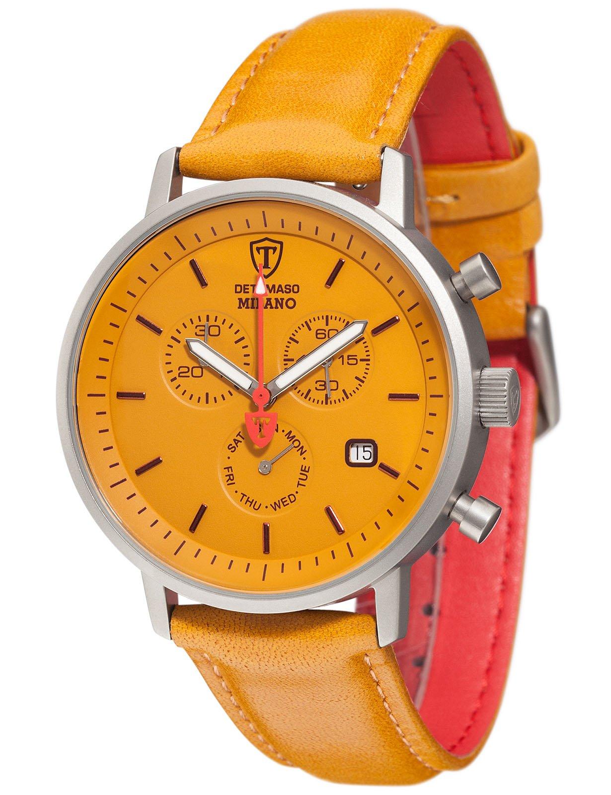 Reloj Cuarzo DeTomaso para Hombre con Amarillo Cronógrafo Y Amarillo Cuero DT1052-U