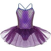 iiniim Girls Kids Gymnastics Dance Dress Sequins Ballet Tutu Leotard Skirt Tiered Princess Fairy Costume
