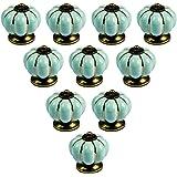 PsmGoods® Europa-Art-Keramische Pompoen Vintage Deurvakknoppen voor Dresser Keuken Kabinet Pulls Kast Handgrepen 10Pack (Lich