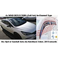 OEMM Set Of 4 Wind Deflectors IN-CHANNEL Type Compatible with FORD FOCUS MK3 5 door HATCHBACK 2011 2012 2013 2014 2015 2016 2017 2018 Acrylic Glass Side Visors Window Deflectors
