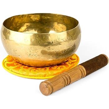Klangschale nach traditionellem Verfahren von Hand in Nepal hergestellt, für Meditations- und Yogaübungspraxis, inklusive orangefarbener Unterlage und Holz-/Lederklöppel - 1200-L