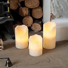 3 Echtwachs LED Kerzen mit täuschend echt wirkenden Flacker-Effekt, batteriebetrieben, von Festive Lights