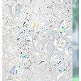 rabbitgoo 3D Privacy Glasfolie Tulpenpatroon Decoratief Geen Lijm Statische Film Frosted Film Warmteregeling Anti UV 44.5X200