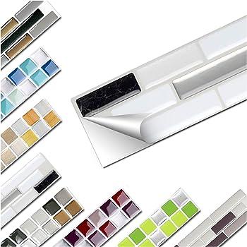 Wandaro 5er Set Fliesenaufkleber 27 x 4,7 cm schwarz metallic weiß Silber Ziegel Design 17 I 3D Aufkleber Fliesenfolie Mosaik Bad Küche W3467