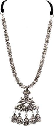 Zephyrr Handmade Tibtan Style Devotional Peacock Design Silver Tone Lightweight Pendant Necklace Statement Jewelry With Jhum