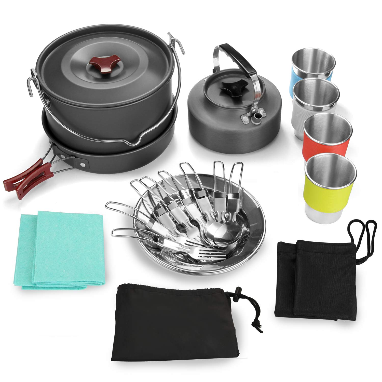 3 Platos Kit de Olla para Acampar para Caminatas y Picnic al Aire Libre 3 Tazas Odoland Juego de Olla y Sart/én para Acampar con Hervidor de Camping