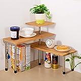 Jolitac Étagère d'angle de Cuisine à 3 Niveaux en Bambou pour Bureau, étagère de Rangement pour épices, économise de l'espace