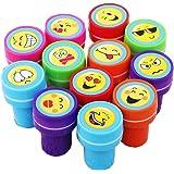 ZENUTA 12pcs Tampons à Encre Auto-encrage Les Enseignants Cadeaux Timbres Jouets Stickers Enfants Emoji Tampon encreur