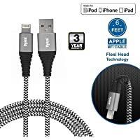 Dyazo 6 ft Apple Mfi Certified Charging & Sync Nylon Braided Cable with Flexi Head Technology Compatible with iPhone XS/Max/XR/X/8/8 Plus/7/7 Plus/6/6 Plus/6S/6S (Pack of 1)
