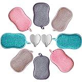 8pcs Eponges Vaisselle Lavable Grattante en Microfibre + 2pcs Crochet Adhésif Antibactérienne Non Odor Tampons Ecologique Ide