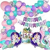 Decoración de fiesta de sirena con pancarta de feliz cumpleaños, globos de aluminio, globos y adornos de pastel para el tema
