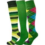 Mysocks® 3 Pairs Calzini al ginocchio unisex multi design con cotone pettinato extra fine