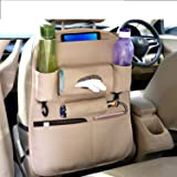 Coku Universal Back Seat Car Organizer Multi Pocket Storage with Document, Water, Bottle Tablet and Tissue Holder (Beige…