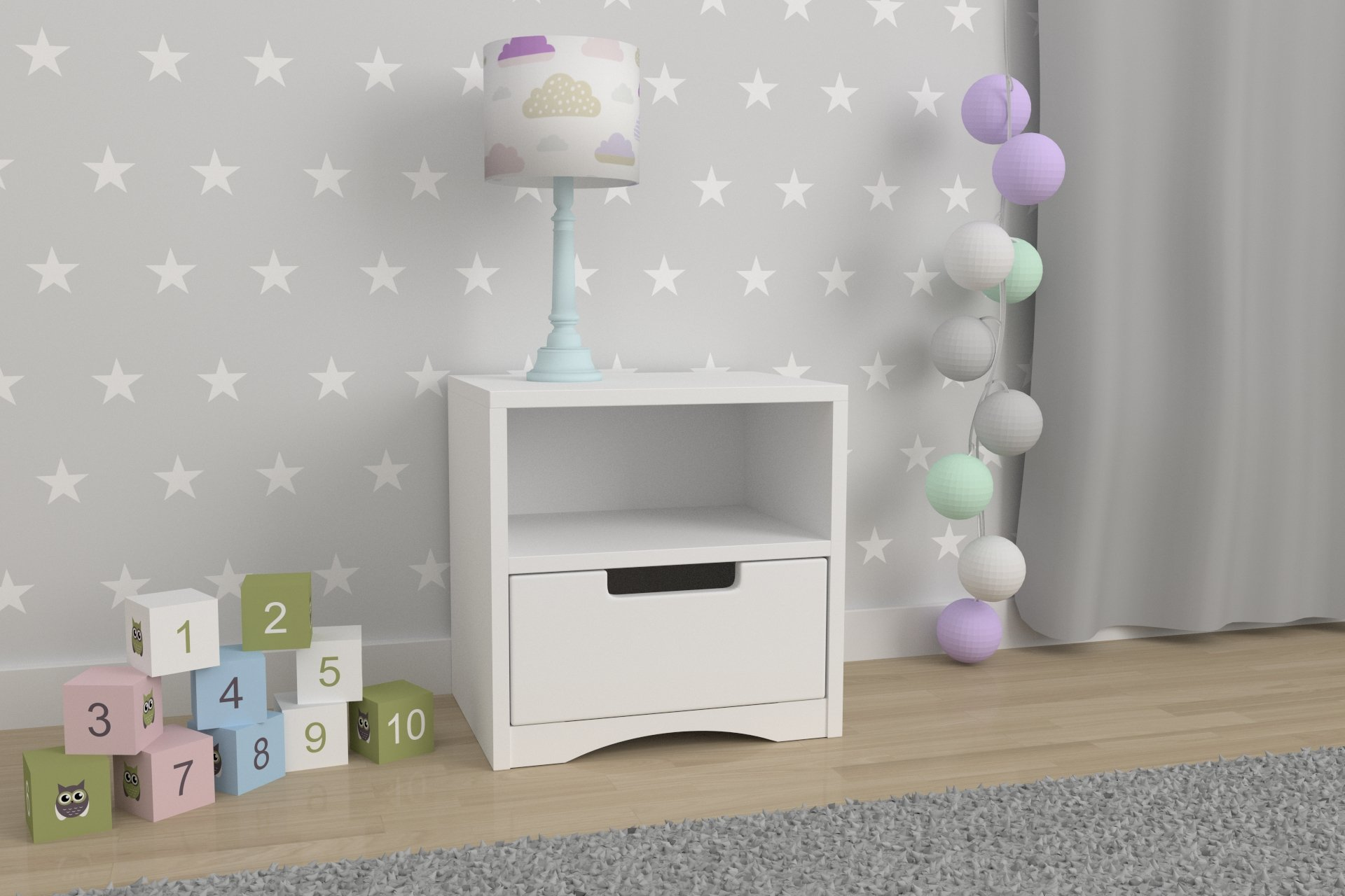 Children's Beds Home Kids Bedside Table Classic_1 For Kids, Children, Junior (White, 40x40x30) Children's Beds Home Table dimensions 40x40x30 Drawer mounted on runners Additional shelf above drawers 1
