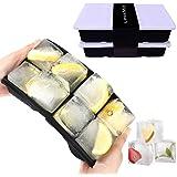 LessMo 2 Paquets Bacs à Glaçons, Moules à Glaçons Silicone 8 Cavités avec Couvercle Amovible Résistant Aux Eclaboussures, Idé