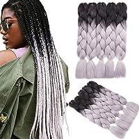 YMHPRIDE 5 pezzi 24 pollici di estensione dei capelli intrecciati Jumbo sintetici Ombre 100g Trecce di scatola africane…