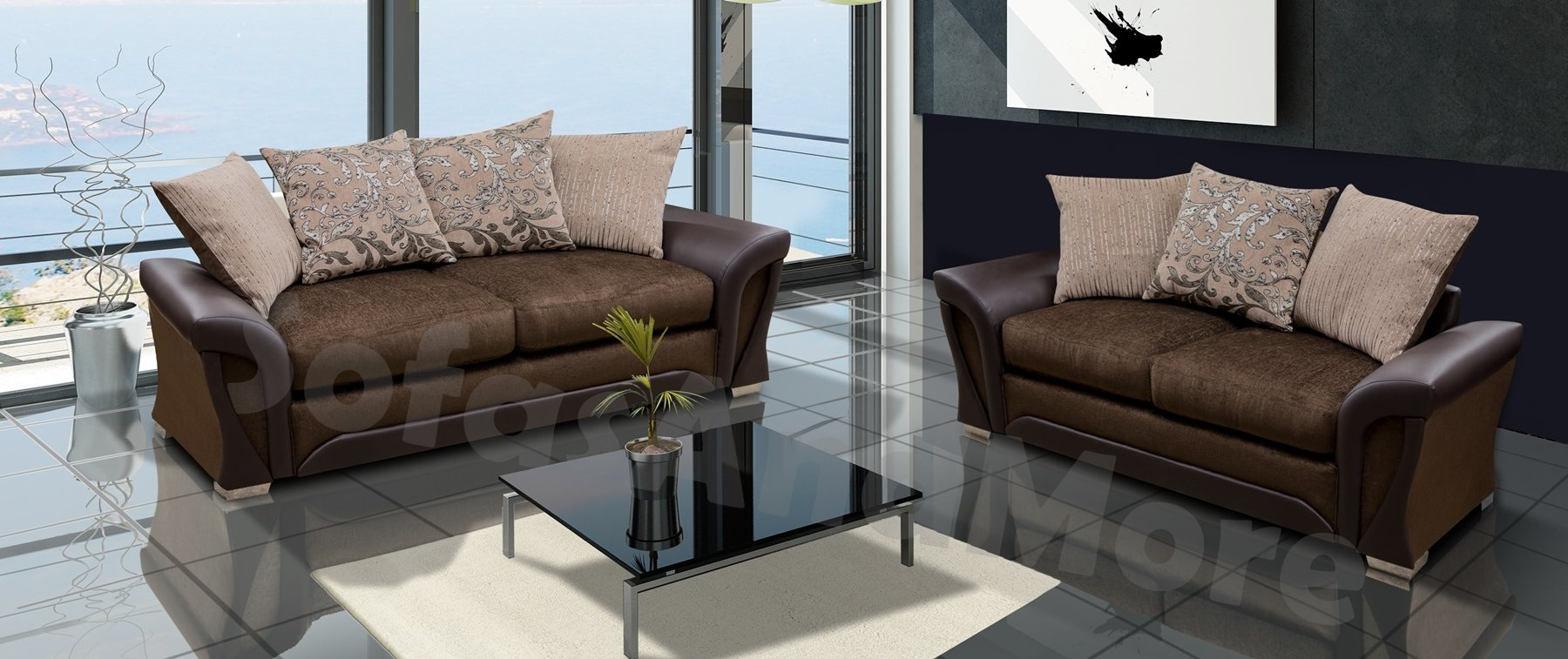 SHARON 3+2 SEATER SOFA SET BROWN OR BLACK AND GREY FABRIC LEATHER (Brown)
