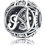 LaMenars 100% geniale argento Sterling 925 vintage dalla A alla Z, con lettera iniziale dell'alfabeto in zirconia cubica tras