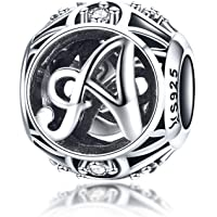 LaMenars - Perles en argent sterling 925 - Style vintage de A à Z - Zircone cubique transparent - Pour bracelets et…