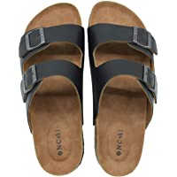 ONCAI Mens Slide Sandal Summer Beach Arizona Indoor and Outdoor Anti-skidding Flat Cork Sandals with Two Adjustable…