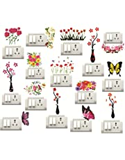 Sticker Studio Flower Pot,Floral Butterfly Switch Board Sticker 9Set of 15