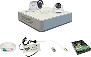 Hikvision 4 Ch HD DVR and 1 Bullet; 1 Dome HD Camera Combo kit; Include All Require Accessories for 2 Camera Installation