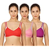 Zunahme Women's Cotton Non Padded Non-Wired Sports Bra (Pack of 3)