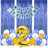 Party Propz Happy Birthday Latex Decoration Items, No 2 Foil Balloons,3pcs Foil Curtain,24pcs Balloons And 1pc Happy Birthday