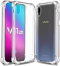 Jkobi Silicon Flexible Protective Shockproof Corner Back Case Cover for Vivo V11 Pro -Transparent